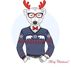 手绘圣诞麋鹿装饰画