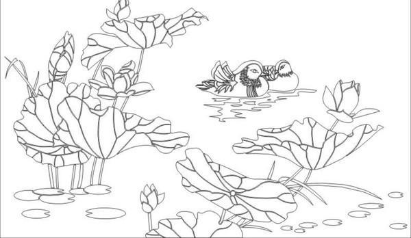 荷花鸭雕刻图案