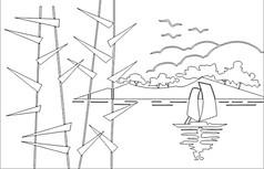 海边一角雕刻图案