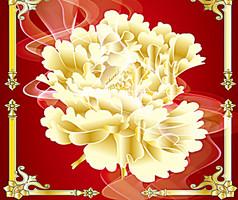 金色华丽牡丹工笔花纹