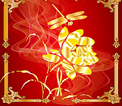 蜻蜓荷花金色工笔画