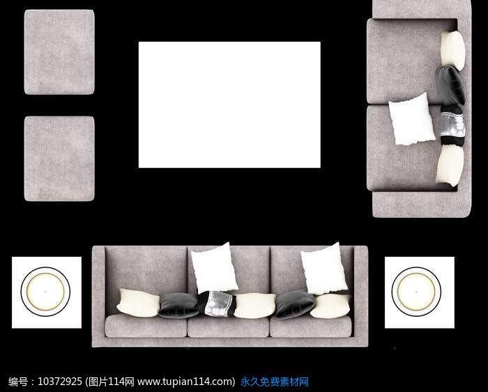 创意灰色沙发俯视效果图