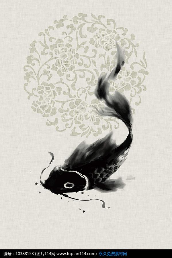 水墨鱼中国风海报背景设计素材免费下载_海报设计其他