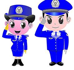 蓝色衣服警察卡通人物
