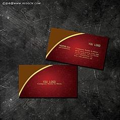 金属名片模板psd 古典红色背景名片模板下载