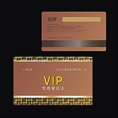 金色尊贵高档金属拉丝质感黄金浮雕花纹VIP会员卡设计