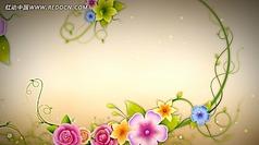 中国风古典花纹生长视频led背景素材
