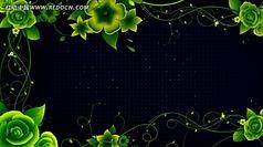 绿色古典花纹生长视频