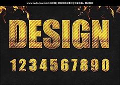 0-9黄色禁止字体设计