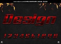 红色0-9阿拉伯质感数字字体设计