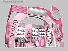 粉紅色化妝品展廳3d模型