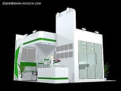 清新自然綠色化妝品展廳max模型