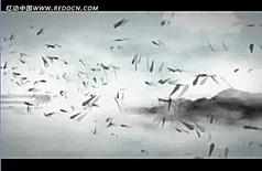 中国风山水动画竹叶纷飞高清视频背景素材