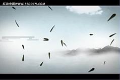 中国风山水动画云彩竹叶高清视频背景素材