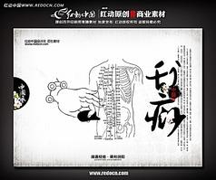 中医经脉刮痧展板