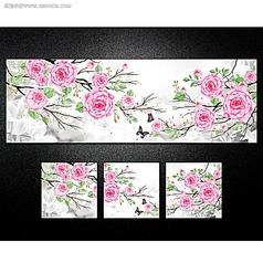 浪漫玫瑰装饰画素材