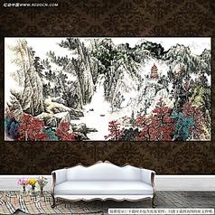 山水风景中国画装饰背素材