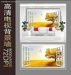 秋天风景背景墙