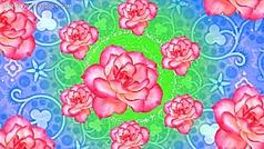 蓝色纹理背景 玫瑰花视频