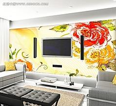 牡丹花会电视背景墙