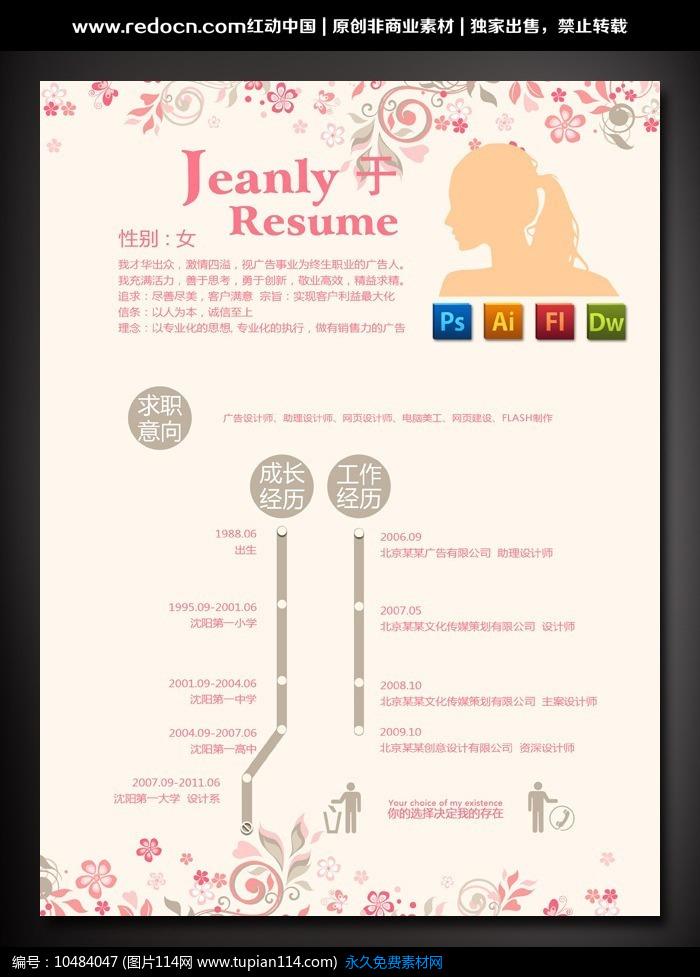 服装行业个人简介_化妆品销售个人简历模板设计素材免费下载_求职简历PSD_图片114