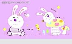 卡通兔子印花图案
