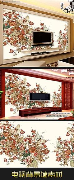 花开富贵牡丹图电视背景墙装饰画素材