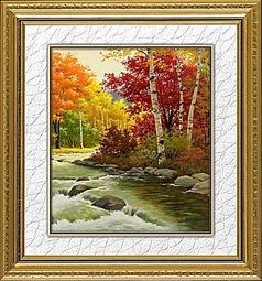 秋天风景山水油画装饰画
