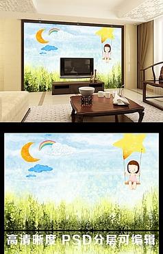 简约儿童卡通绿草地卧室背景墙图片