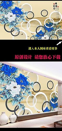 3D中式牡丹花开富贵电视背景墙图片下载
