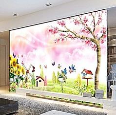 彩绘卡通风景背景墙