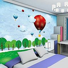 卡通剪纸风景卧室背景墙