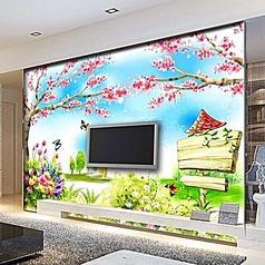 卡通桃花风景电视背景墙