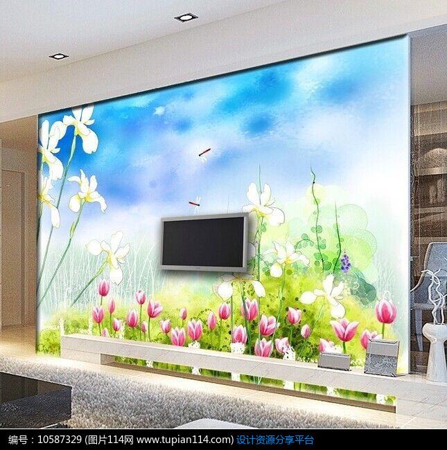 [原创] 彩绘花草电视背景墙图片