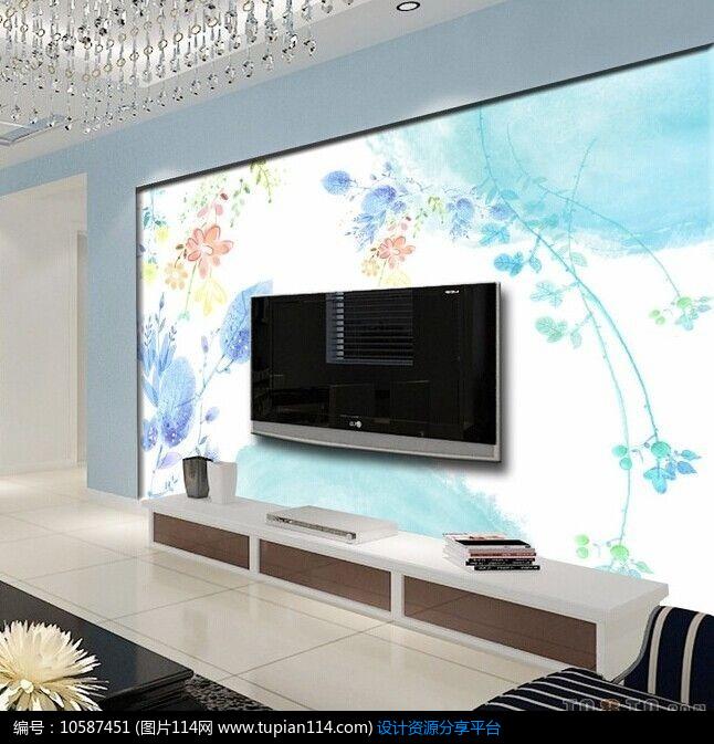 [原创] 艺术彩绘电视背景墙图片