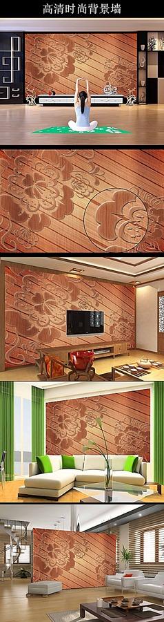 古典木雕花纹电视背景