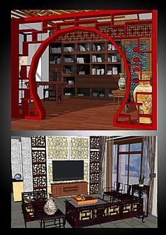 中式书房客厅的SU模型设计