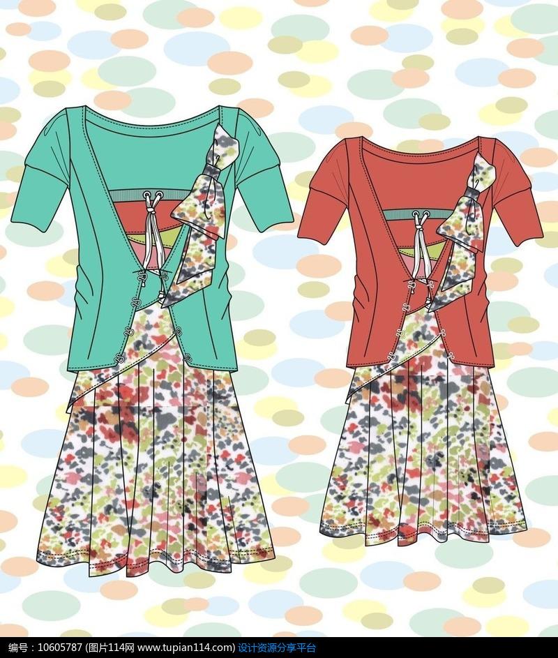 印花二件裙子设计图手稿设计素材免费下载_服装|t恤