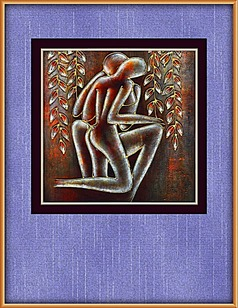 情侣抽象油画装饰图