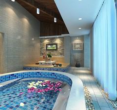 简约温馨温泉浴池3d模型下载