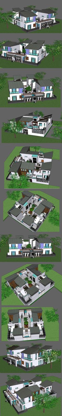 四合院会所建筑SU设计