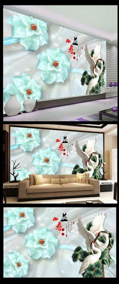 浮雕长寿仙鹤花朵宝石电视背景墙