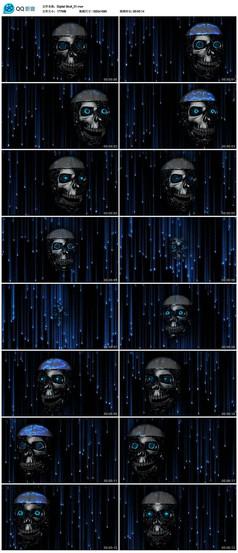 骷髅头光效霓虹灯led视频素材