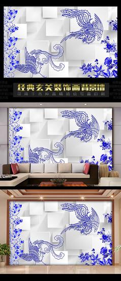 3D青花瓷凤凰电视背景墙