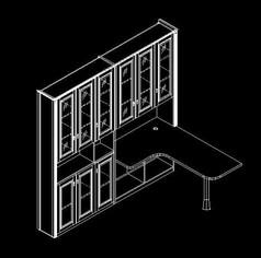 L型书柜书桌三维设计图
