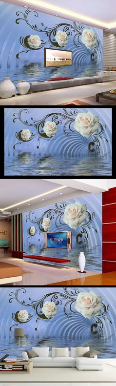 3D玫瑰立体空间电视背景墙