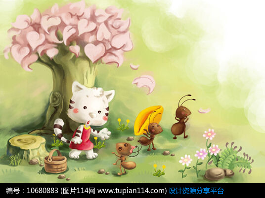 [原创] 可爱风小猫和蚂蚁儿童插画
