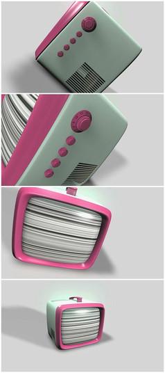 旧电视机三维动画视频素材