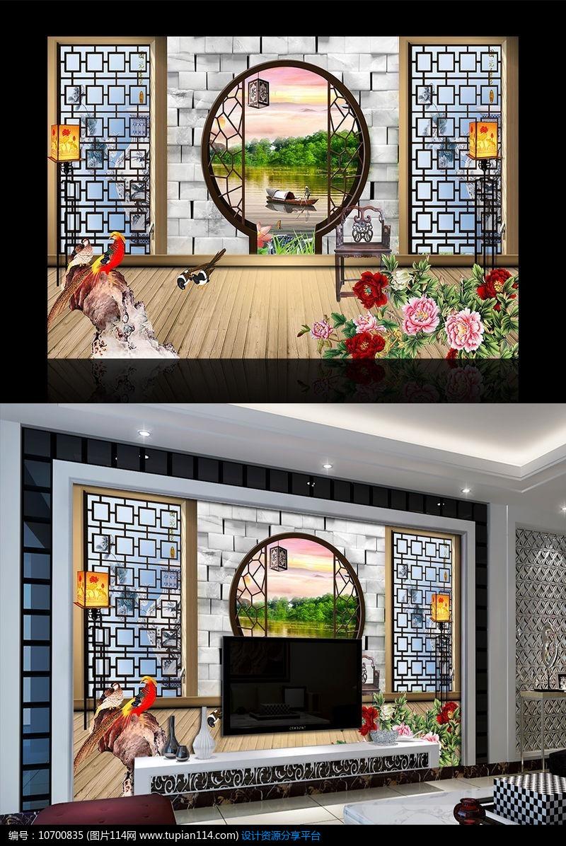 [原创] 唯美系列窗外风景立体电视背景墙