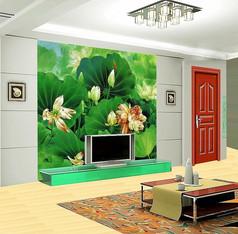中国风荷花电视背景墙